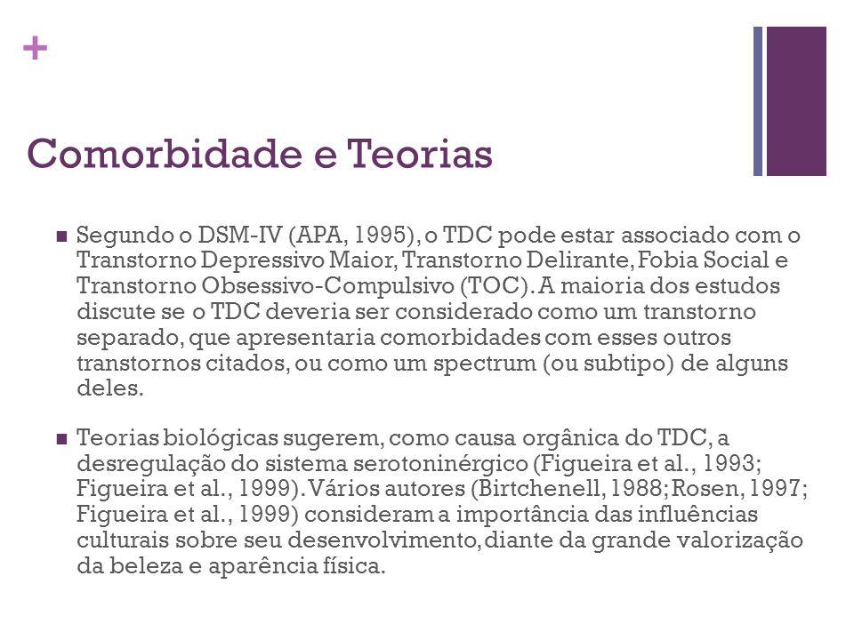 + Comorbidade e Teorias Segundo o DSM-IV (APA, 1995), o TDC pode estar associado com o Transtorno Depressivo Maior, Transtorno Delirante, Fobia Social