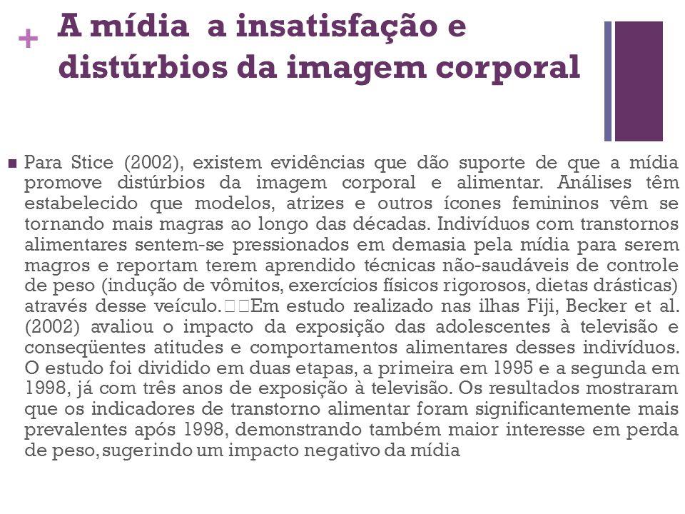 + A mídia a insatisfação e distúrbios da imagem corporal Para Stice (2002), existem evidências que dão suporte de que a mídia promove distúrbios da im