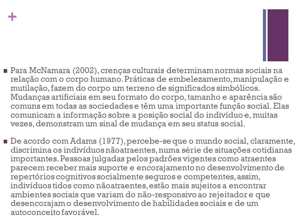 + Para McNamara (2002), crenças culturais determinam normas sociais na relação com o corpo humano. Práticas de embelezamento, manipulação e mutilação,