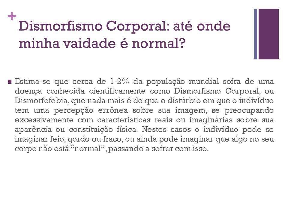 + Dismorfismo Corporal: até onde minha vaidade é normal? Estima-se que cerca de 1-2% da população mundial sofra de uma doença conhecida cientificament