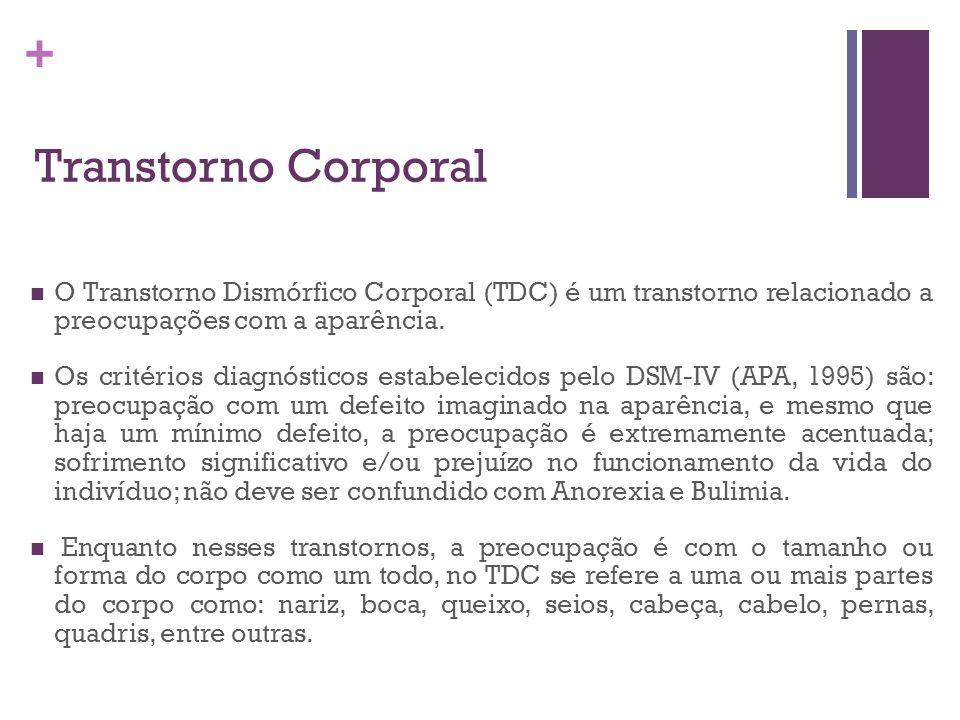 + Transtorno Corporal O Transtorno Dismórfico Corporal (TDC) é um transtorno relacionado a preocupações com a aparência. Os critérios diagnósticos est
