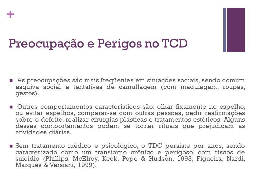+ Preocupação e Perigos no TCD As preocupações são mais freqüentes em situações sociais, sendo comum esquiva social e tentativas de camuflagem (com ma