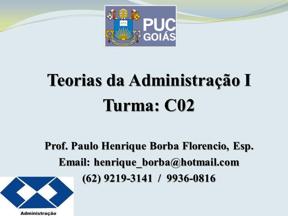 Teorias da Administração I Livro Texto Indicado INTRODUÇÃO À TEORIA GERAL DA ADMINISTRAÇÃO CHIAVENATO, Idalberto Ed.