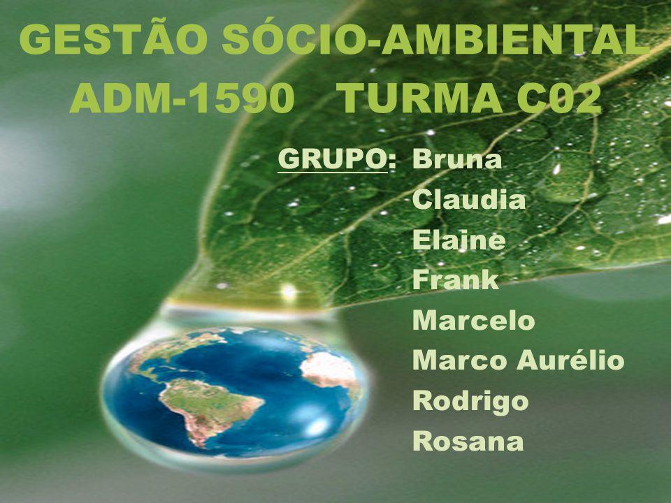 GRUPO:Bruna Claudia Elaine Frank Marcelo Marco Aurélio Rodrigo Rosana GESTÃO SÓCIO-AMBIENTAL ADM-1590 TURMA C02