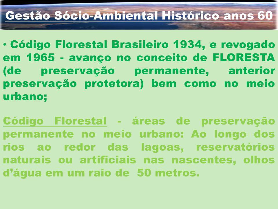 Gestão Sócio-Ambiental Histórico anos 60 Código Florestal - áreas de preservação permanente no meio urbano: Ao longo dos rios ao redor das lagoas, res