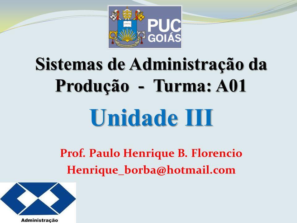 Sistemas de Administração da Produção - Turma: A01 Unidade III Prof. Paulo Henrique B. Florencio Henrique_borba@hotmail.com