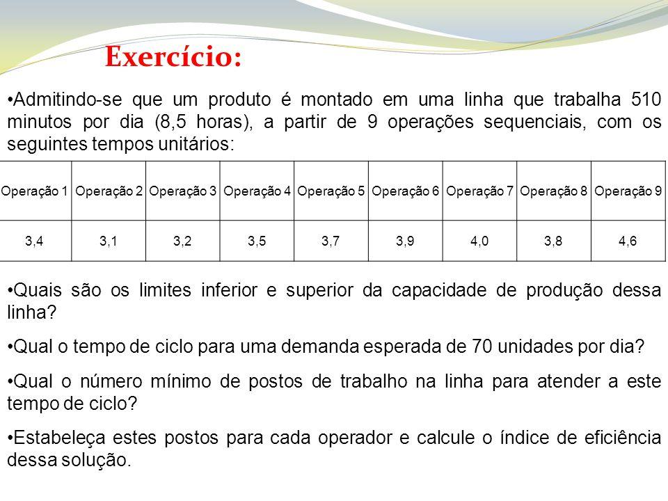 Exercício: Operação 1Operação 2Operação 3Operação 4Operação 5Operação 6Operação 7Operação 8Operação 9 3,43,13,23,53,73,94,03,84,6 Admitindo-se que um
