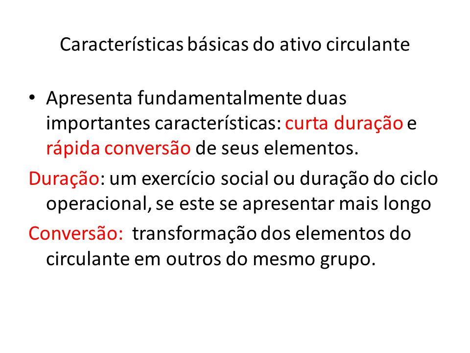 Características básicas do ativo circulante Apresenta fundamentalmente duas importantes características: curta duração e rápida conversão de seus elem