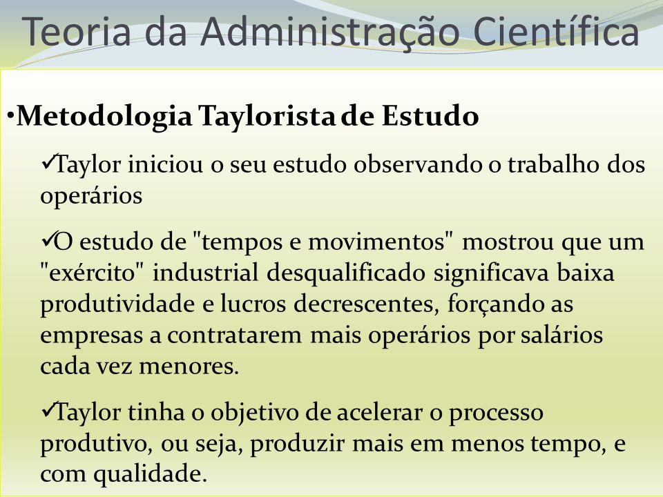 Teoria da Administração Científica Metodologia Taylorista de Estudo Taylor iniciou o seu estudo observando o trabalho dos operários O estudo de