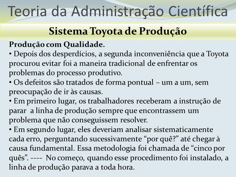 Teoria da Administração Científica Sistema Toyota de Produção Produção com Qualidade. Depois dos desperdícios, a segunda inconveniência que a Toyota p