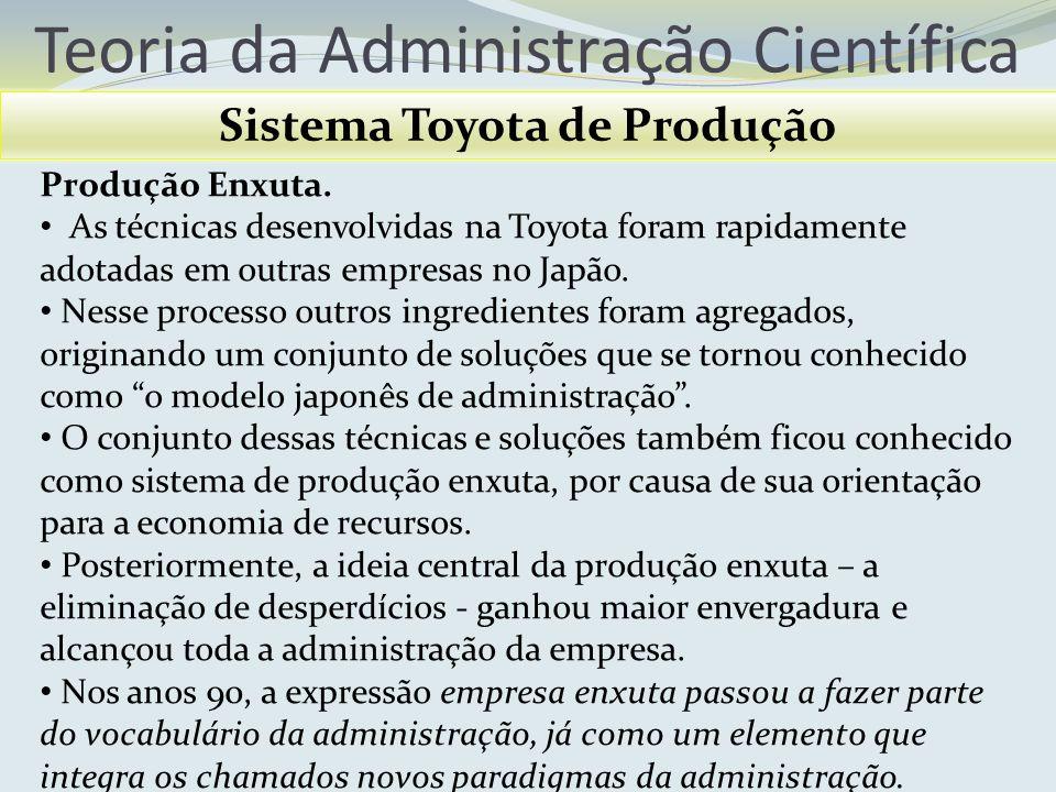 Teoria da Administração Científica Sistema Toyota de Produção Produção Enxuta. As técnicas desenvolvidas na Toyota foram rapidamente adotadas em outra