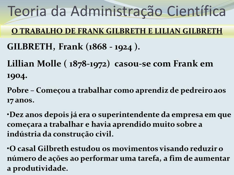 Teoria da Administração Científica O TRABALHO DE FRANK GILBRETH E LILIAN GILBRETH GILBRETH, Frank (1868 - 1924 ). Lillian Molle ( 1878-1972) casou-se