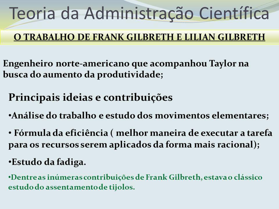 Teoria da Administração Científica O TRABALHO DE FRANK GILBRETH E LILIAN GILBRETH Principais ideias e contribuições Análise do trabalho e estudo dos m