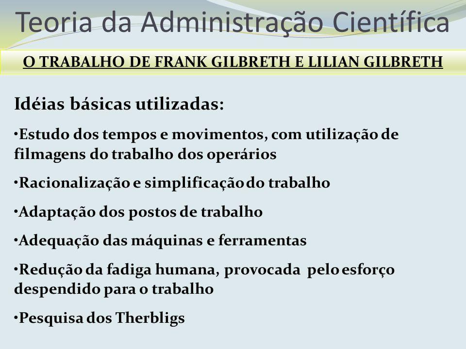 Teoria da Administração Científica O TRABALHO DE FRANK GILBRETH E LILIAN GILBRETH Idéias básicas utilizadas: Estudo dos tempos e movimentos, com utili