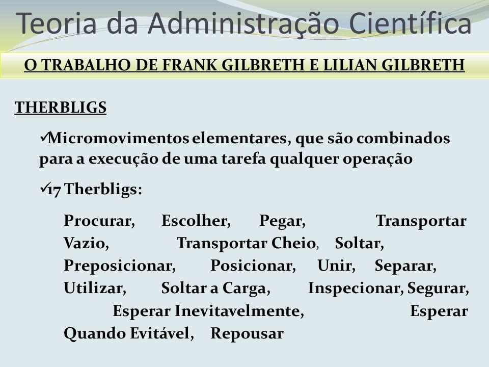 Teoria da Administração Científica O TRABALHO DE FRANK GILBRETH E LILIAN GILBRETH THERBLIGS Micromovimentos elementares, que são combinados para a exe