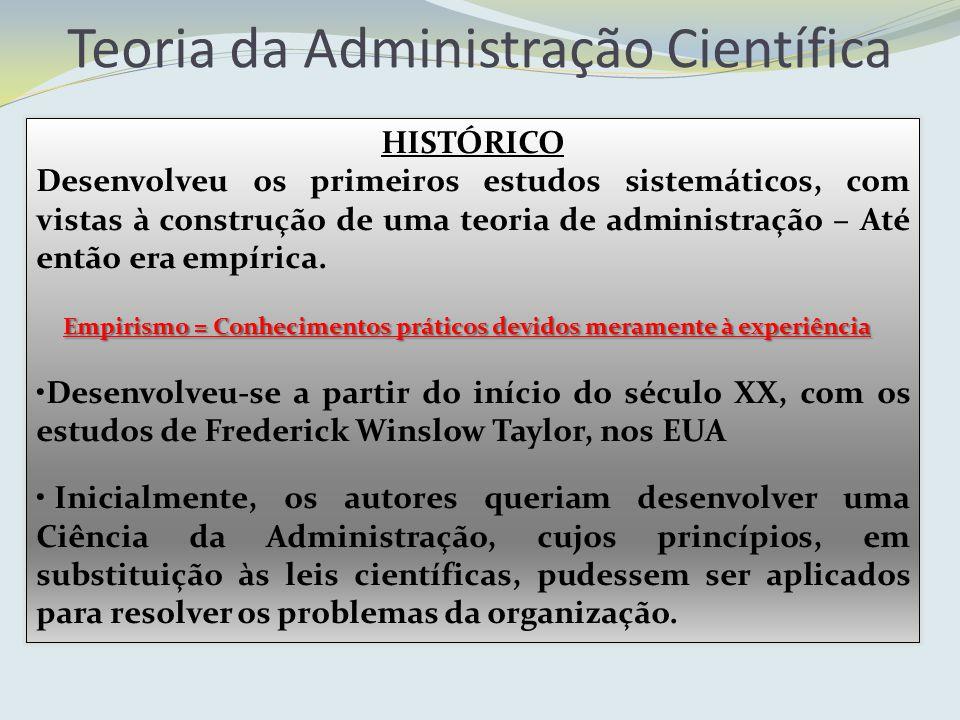Teoria da Administração Científica HISTÓRICO Desenvolveu os primeiros estudos sistemáticos, com vistas à construção de uma teoria de administração – A