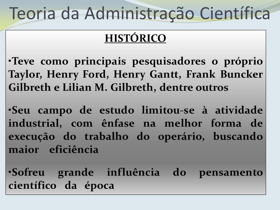 Teoria da Administração Científica HISTÓRICO Teve como principais pesquisadores o próprio Taylor, Henry Ford, Henry Gantt, Frank Buncker Gilbreth e Li