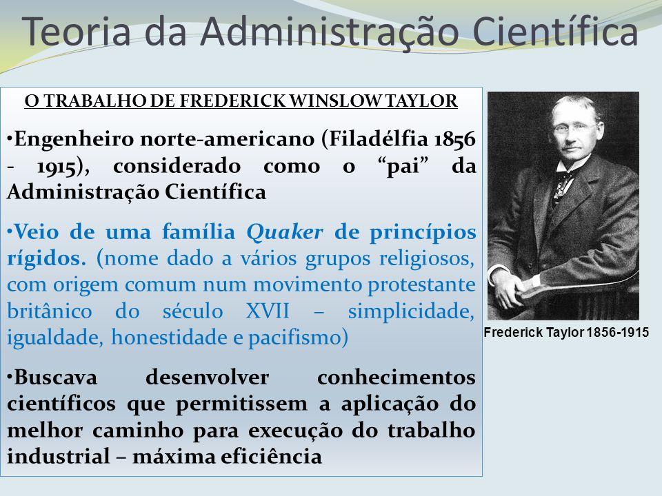 Teoria da Administração Científica O TRABALHO DE FREDERICK WINSLOW TAYLOR Engenheiro norte-americano (Filadélfia 1856 - 1915), considerado como o pai