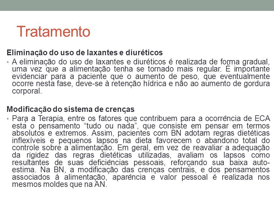 Tratamento Eliminac ̧ ão do uso de laxantes e diuréticos A eliminac ̧ ão do uso de laxantes e diuréticos é realizada de forma gradual, uma vez qu