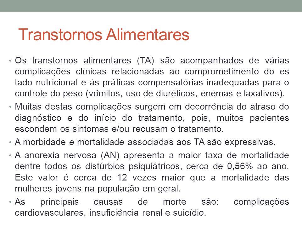 Transtornos Alimentares Os transtornos alimentares (TA) são acompanhados de várias complicac ̧ ões clínicas relacionadas ao comprometimento do es