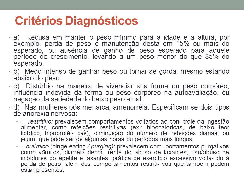 Critérios Diagnósticos a) Recusa em manter o peso mínimo para a idade e a altura, por exemplo, perda de peso e manutenc ̧ ão desta em 15% ou mais