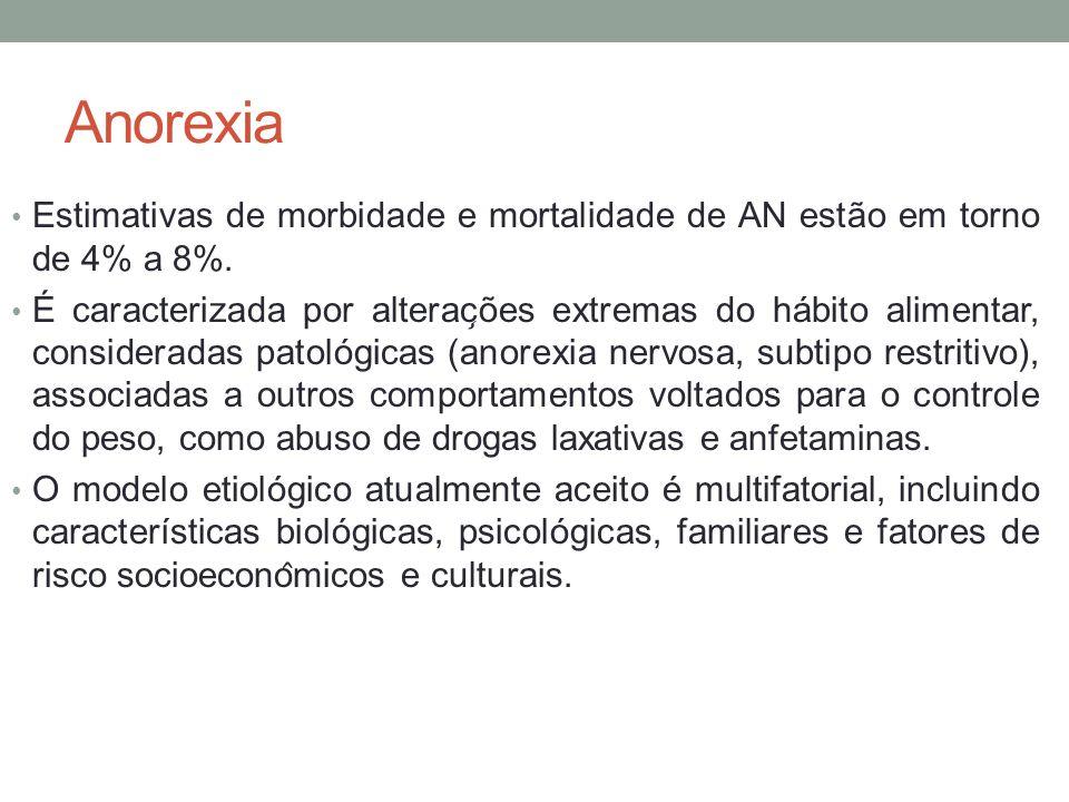 Anorexia Estimativas de morbidade e mortalidade de AN estão em torno de 4% a 8%. É caracterizada por alterac ̧ ões extremas do hábito alimentar, co