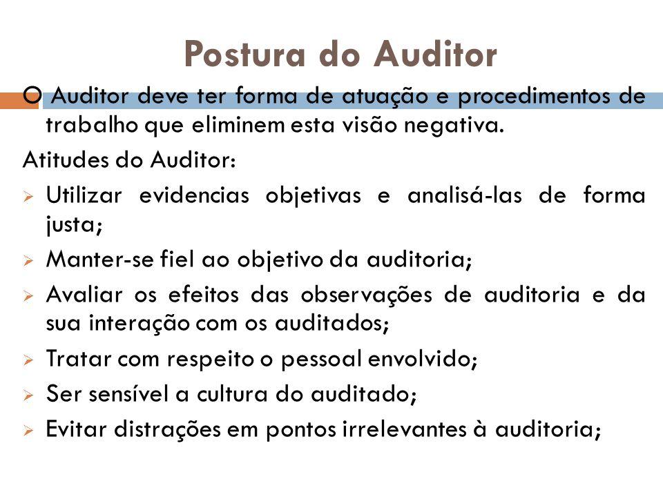 Postura do Auditor O Auditor deve ter forma de atuação e procedimentos de trabalho que eliminem esta visão negativa. Atitudes do Auditor: Utilizar evi
