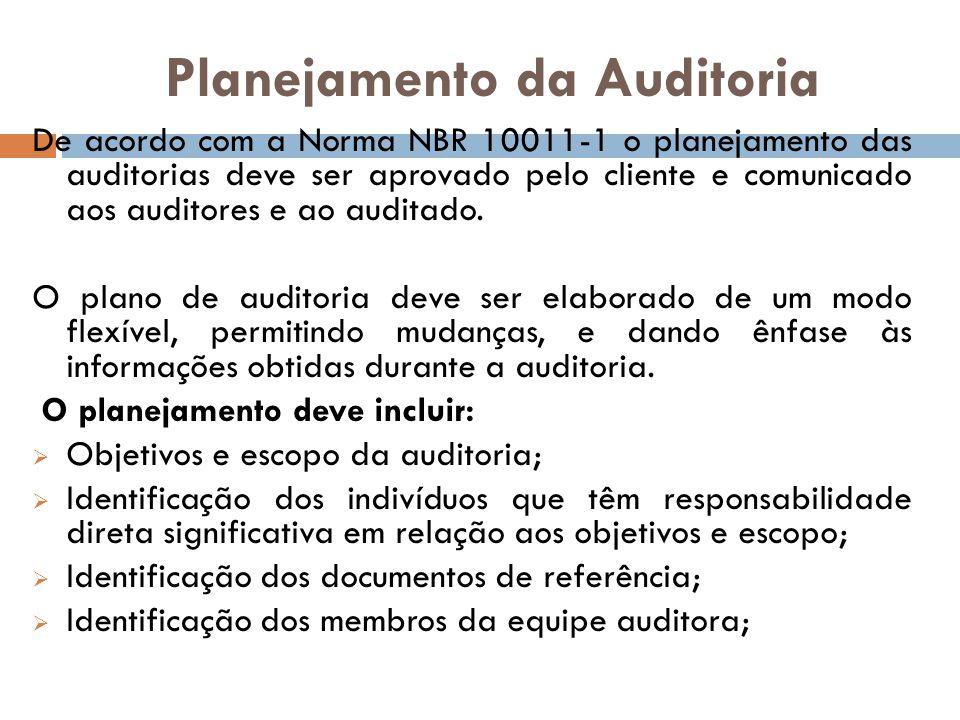 Planejamento da Auditoria De acordo com a Norma NBR 10011-1 o planejamento das auditorias deve ser aprovado pelo cliente e comunicado aos auditores e