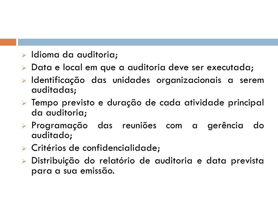 Idioma da auditoria; Data e local em que a auditoria deve ser executada; Identificação das unidades organizacionais a serem auditadas; Tempo previsto