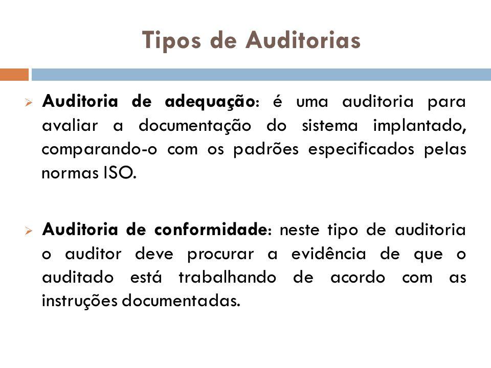 Tipos de Auditorias Auditoria de adequação: é uma auditoria para avaliar a documentação do sistema implantado, comparando-o com os padrões especificad