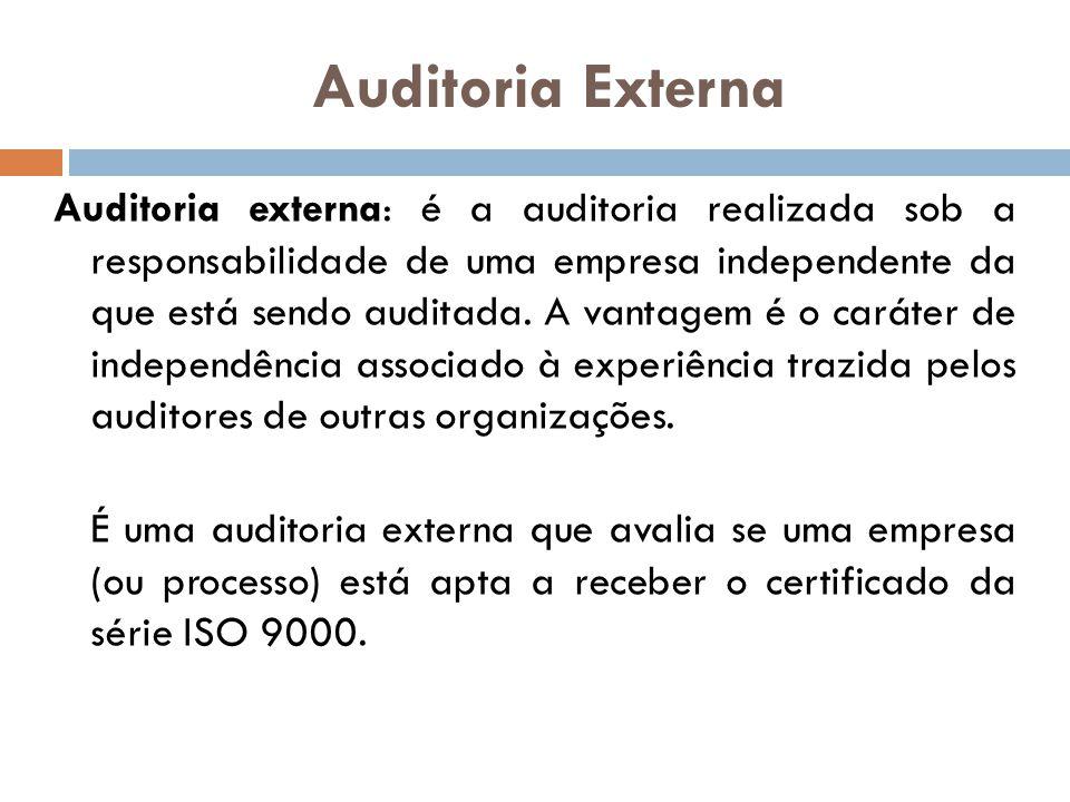 Auditoria Externa Auditoria externa: é a auditoria realizada sob a responsabilidade de uma empresa independente da que está sendo auditada. A vantagem