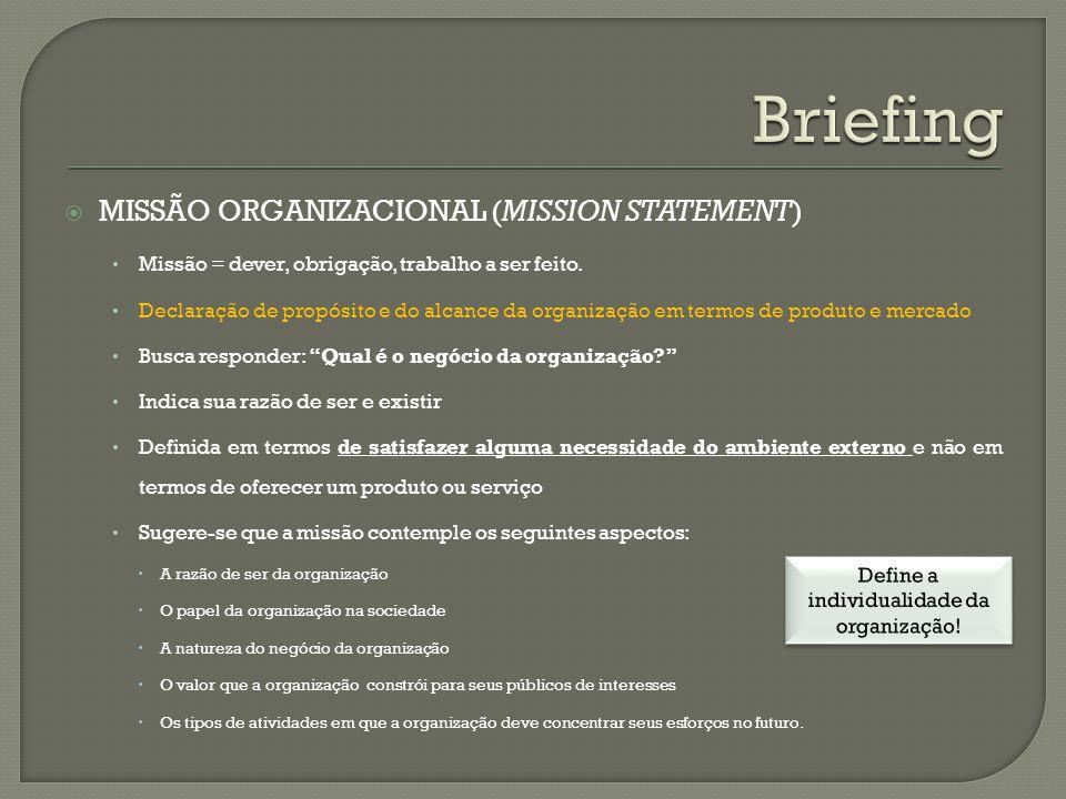 MISSÃO ORGANIZACIONAL (MISSION STATEMENT) Missão = dever, obrigação, trabalho a ser feito. Declaração de propósito e do alcance da organização em term