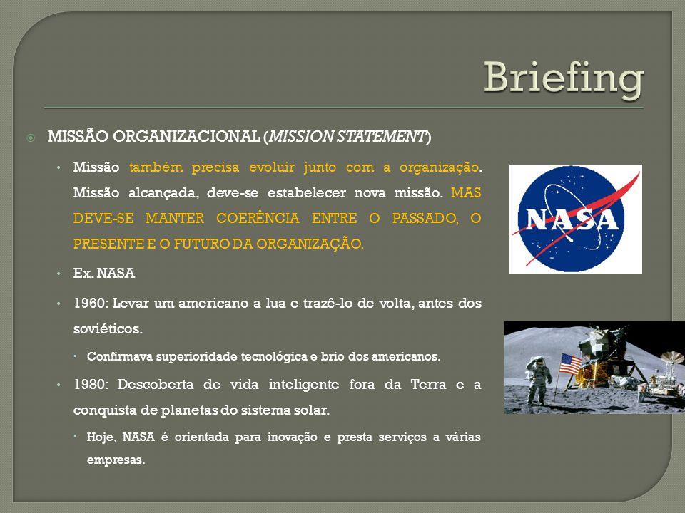 MISSÃO ORGANIZACIONAL (MISSION STATEMENT) Missão também precisa evoluir junto com a organização. Missão alcançada, deve-se estabelecer nova missão. MA