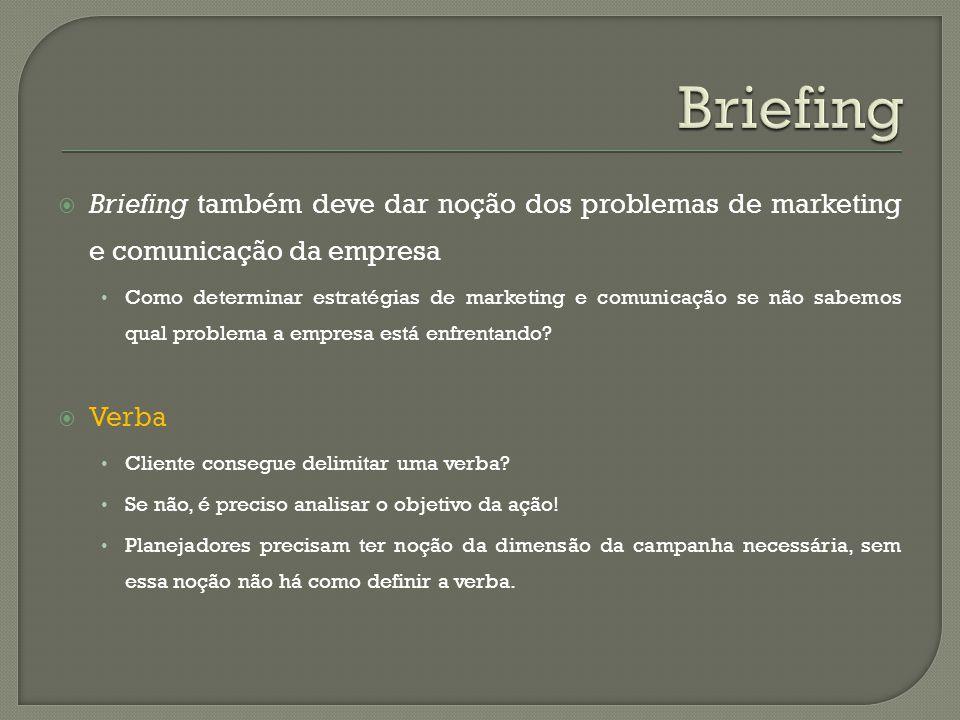 Briefing também deve dar noção dos problemas de marketing e comunicação da empresa Como determinar estratégias de marketing e comunicação se não sabem