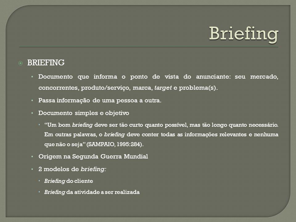 BRIEFING Documento que informa o ponto de vista do anunciante: seu mercado, concorrentes, produto/serviço, marca, target e problema(s). Passa informaç