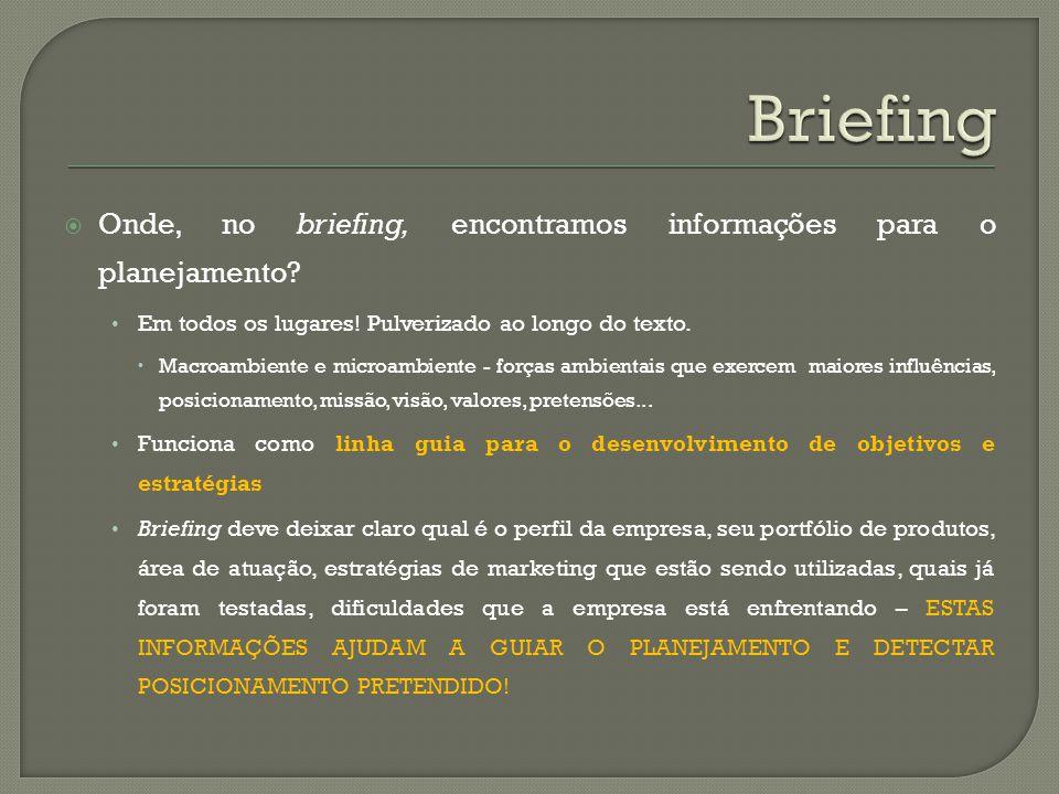 Onde, no briefing, encontramos informações para o planejamento? Em todos os lugares! Pulverizado ao longo do texto. Macroambiente e microambiente - fo