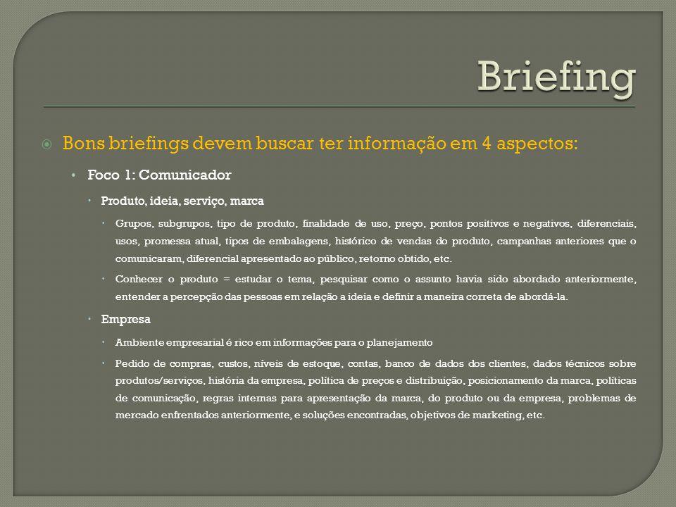 Bons briefings devem buscar ter informação em 4 aspectos: Foco 1: Comunicador Produto, ideia, serviço, marca Grupos, subgrupos, tipo de produto, final