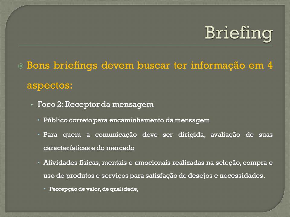 Bons briefings devem buscar ter informação em 4 aspectos: Foco 2: Receptor da mensagem Público correto para encaminhamento da mensagem Para quem a com