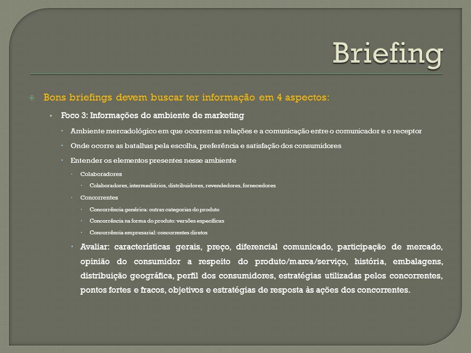 Bons briefings devem buscar ter informação em 4 aspectos: Foco 3: Informações do ambiente de marketing Ambiente mercadológico em que ocorrem as relaçõ