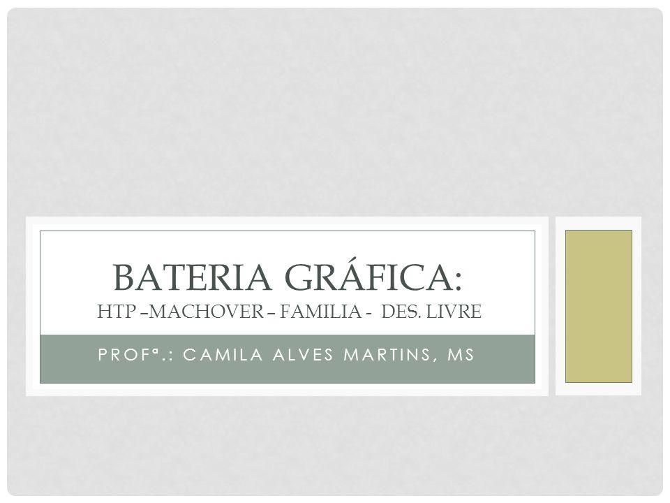 PROFª.: CAMILA ALVES MARTINS, MS BATERIA GRÁFICA: HTP –MACHOVER – FAMILIA - DES. LIVRE