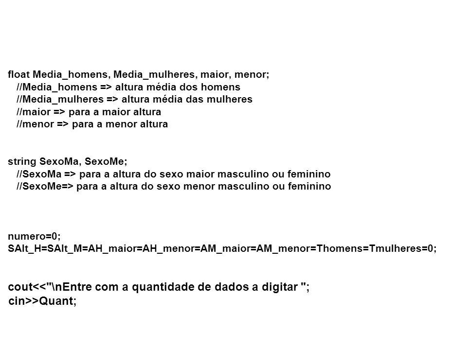 float Media_homens, Media_mulheres, maior, menor; //Media_homens => altura média dos homens //Media_mulheres => altura média das mulheres //maior => para a maior altura //menor => para a menor altura string SexoMa, SexoMe; //SexoMa => para a altura do sexo maior masculino ou feminino //SexoMe=> para a altura do sexo menor masculino ou feminino numero=0; SAlt_H=SAlt_M=AH_maior=AH_menor=AM_maior=AM_menor=Thomens=Tmulheres=0; cout >Quant;