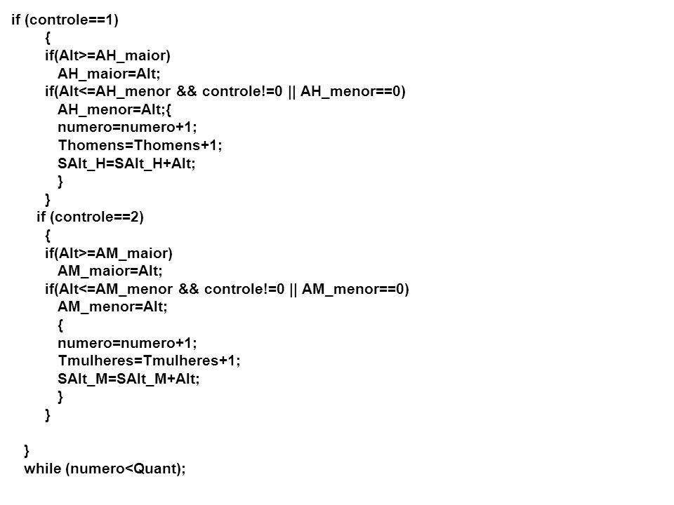 if (controle==1) { if(Alt>=AH_maior) AH_maior=Alt; if(Alt =AM_maior) AM_maior=Alt; if(Alt<=AM_menor && controle!=0 || AM_menor==0) AM_menor=Alt; { numero=numero+1; Tmulheres=Tmulheres+1; SAlt_M=SAlt_M+Alt; } } } while (numero<Quant);