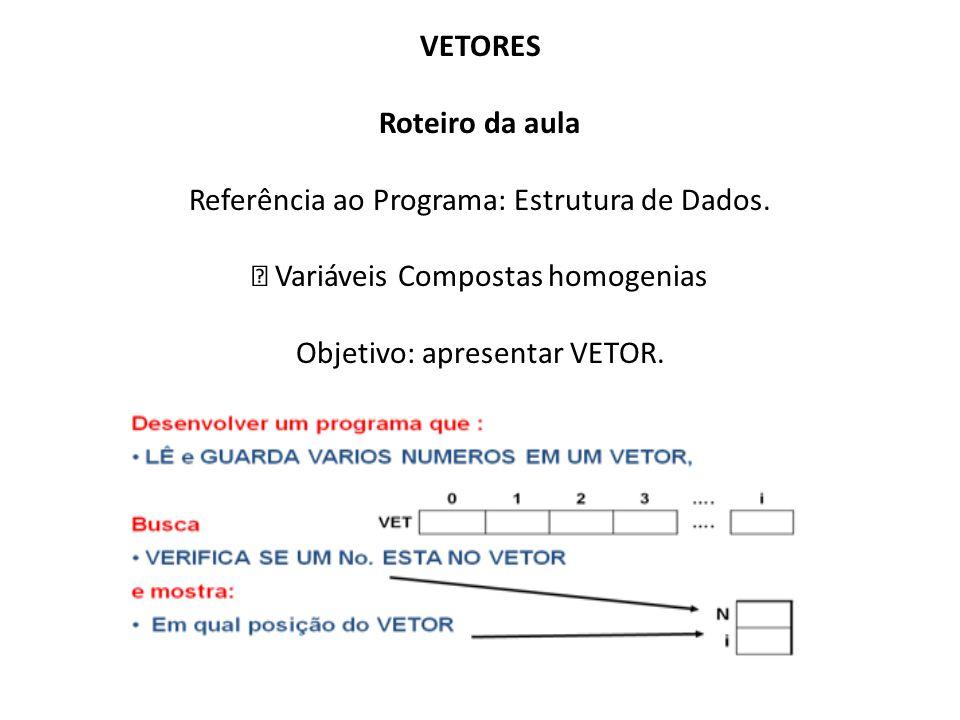 VETORES Roteiro da aula Referência ao Programa: Estrutura de Dados. Variáveis Compostas homogenias Objetivo: apresentar VETOR.