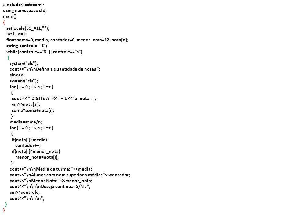 Exercício em Sala Dada uma seqüência de n números, imprimi-la na ordem inversa à da leitura.