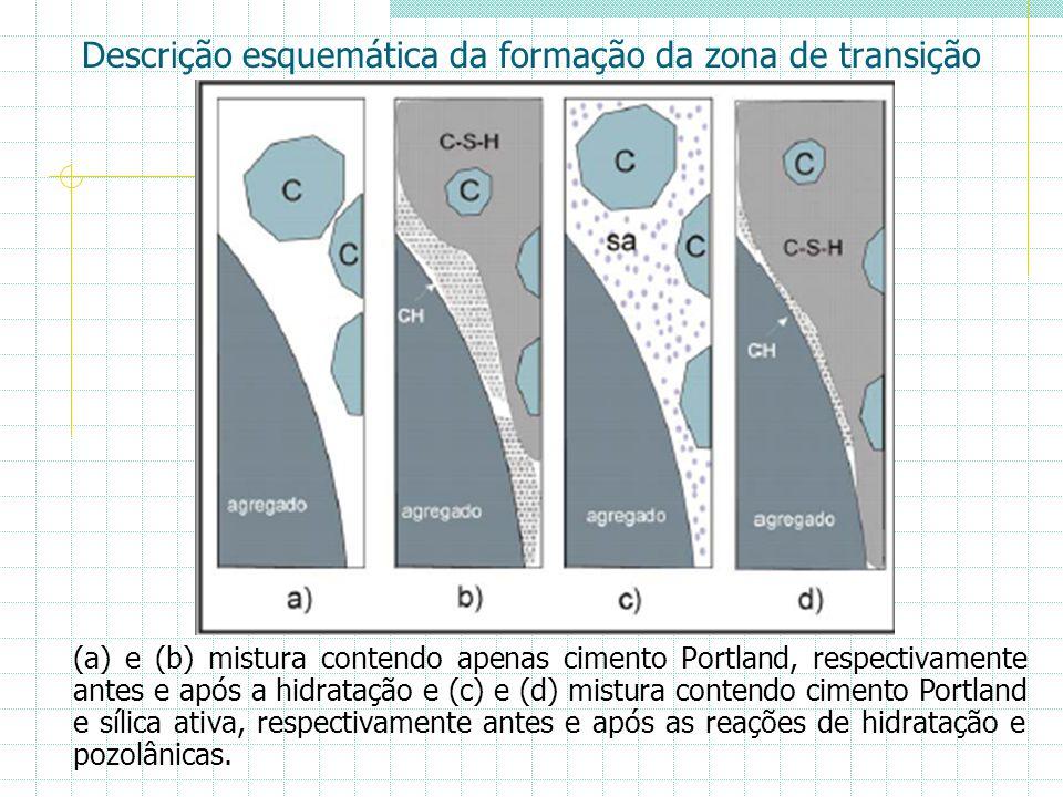 Descrição esquemática da formação da zona de transição (a) e (b) mistura contendo apenas cimento Portland, respectivamente antes e após a hidratação e