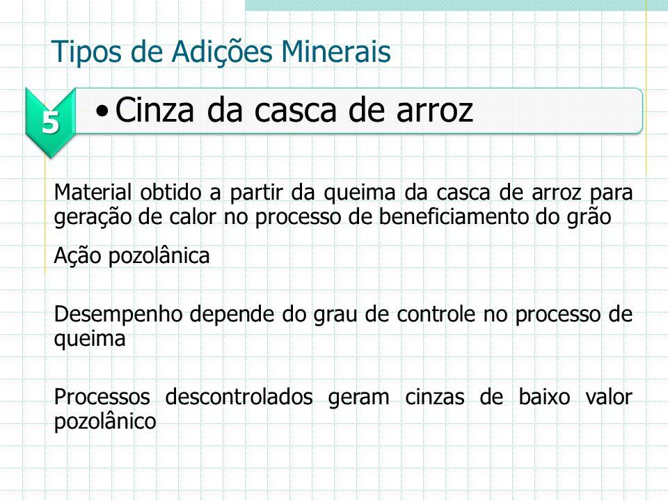 Tipos de Adições Minerais 5 Cinza da casca de arroz Material obtido a partir da queima da casca de arroz para geração de calor no processo de benefici