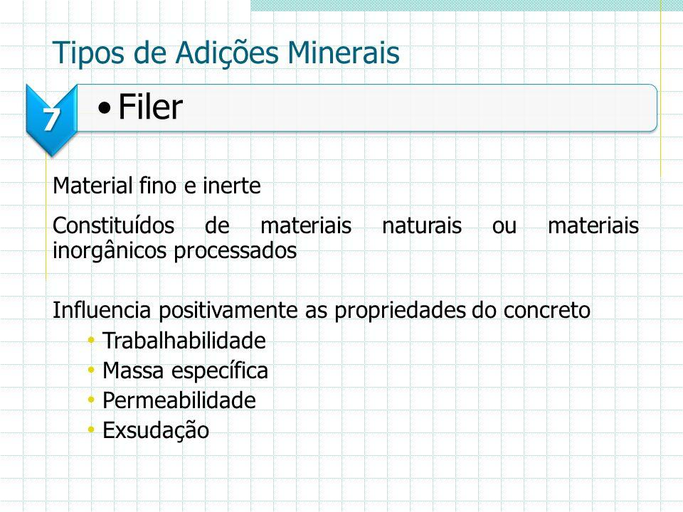Tipos de Adições Minerais 7 Filer Material fino e inerte Constituídos de materiais naturais ou materiais inorgânicos processados Influencia positivame