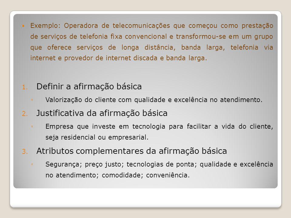 Exemplo: Operadora de telecomunicações que começou como prestação de serviços de telefonia fixa convencional e transformou-se em um grupo que oferece
