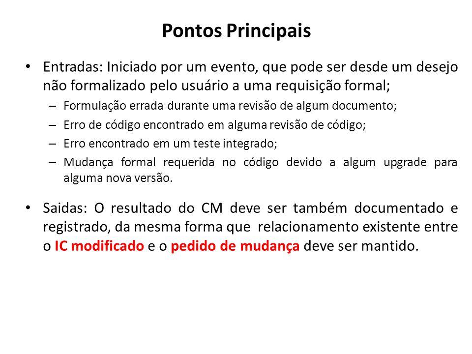Pontos Principais Entradas: Iniciado por um evento, que pode ser desde um desejo não formalizado pelo usuário a uma requisição formal; – Formulação er