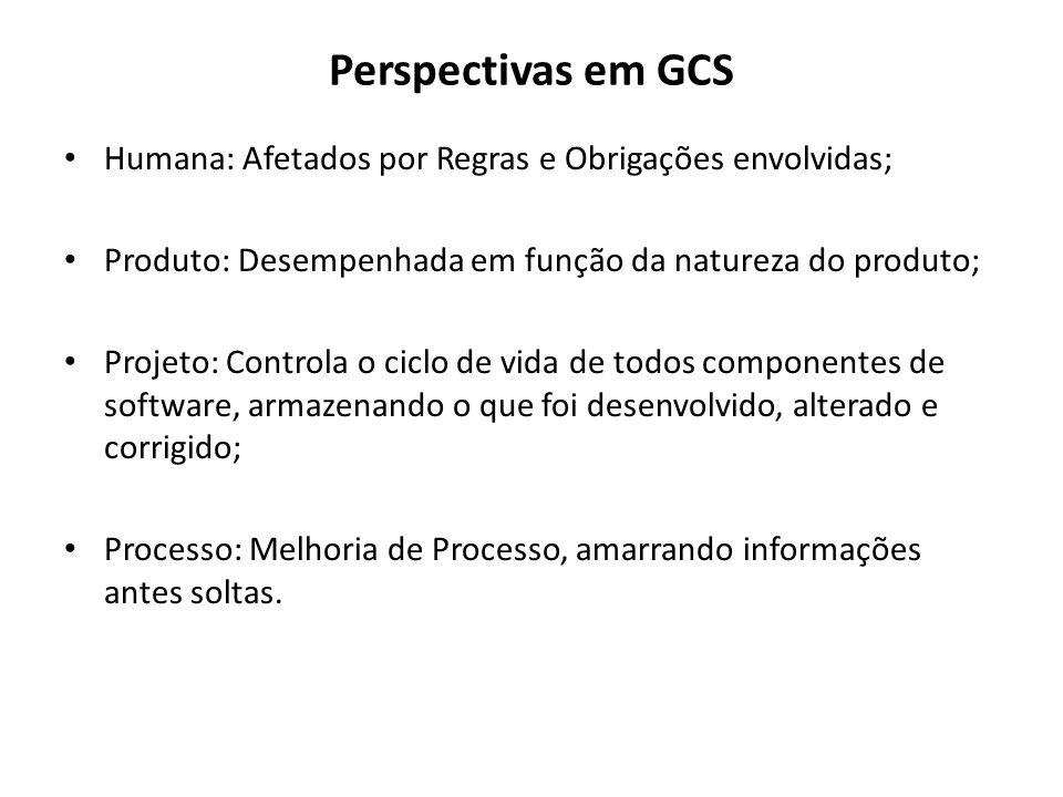 Perspectivas em GCS Humana: Afetados por Regras e Obrigações envolvidas; Produto: Desempenhada em função da natureza do produto; Projeto: Controla o c